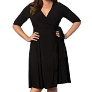 Kiyonna Essential Black Wrap Dress. 2X